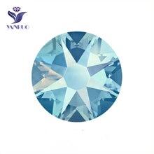 YANRUO 2088NoHF 8 Big 8 Small Plating Light Sapphire AB Shiny Stones And Crystal Glass Rhinestones Flatback Diamond For Garment