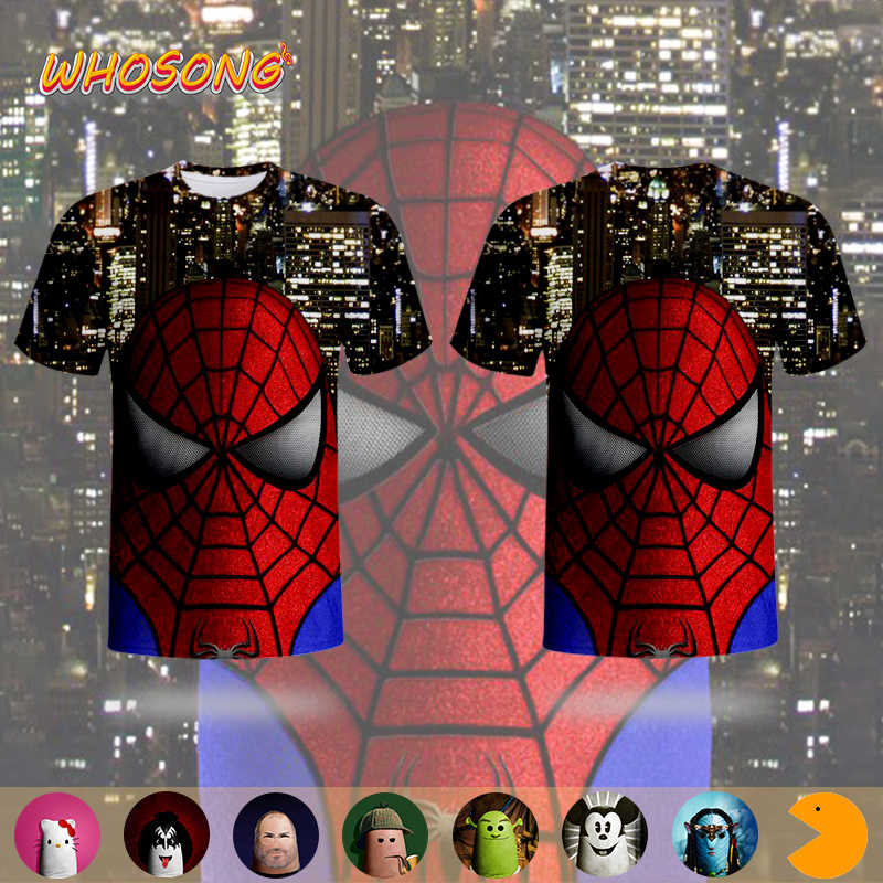 Whosong 3D T Shirt Cat Jari Spider Man Anime Kartun Karakter Klasik Cosplay Keluarga Terlihat Pakaian Anak Lucu T-shirt