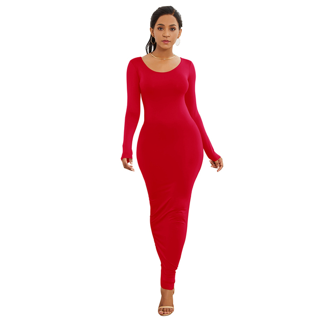 HOT SALES!!! Spring Autumn Sexy Women Solid Color Long Sleeve Round Neck Bodycon Maxi Dress evening party dress sexy comfortable 7