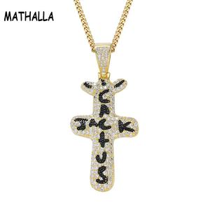 MATHALLA Personalized Cactus Jack Pendant &Necklace Iced Cubic Zircon Plated Gold Silver Color Hip Hop Jewelry For Men Women(China)