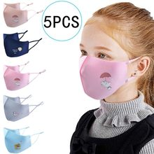 5pcs Face Maskes Kids Cloth Face Maskswashable And Reusable Designer Printed Outdoor Protective Maks Face Scarf Mascarillas(China)