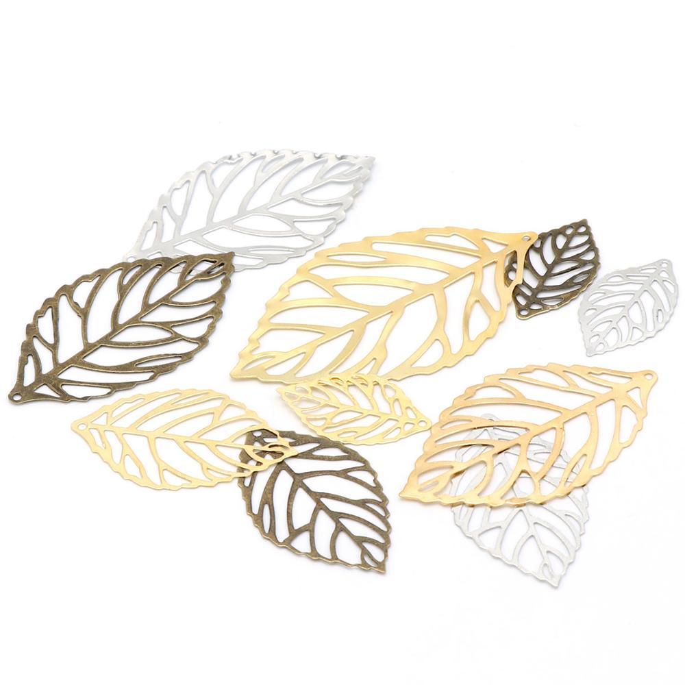 24x14m100pc Gold Sliver Bronze Hollow Leaves Filigree Pendant Metal Crafts Charm DIY UV Resin Necklace Jewelry Handicraft Making