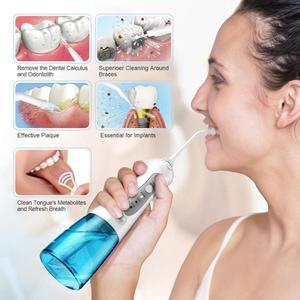 Image 3 - 3 tryby irygator do jamy ustnej na akumulator przenośny irygator do zębów wodoodporny środek do czyszczenia zębów Floss Tooth 2 Jet Tips 300ml