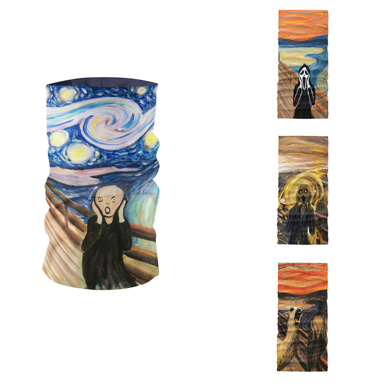 Fashion 3D Printed Summer Women Headband Neck Gaiter Van Gogh's Famous Oil Painting Pattern Scarf Kerchief Sports Mask Headdress