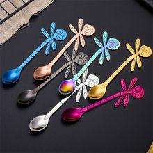 цена на 1Pcs Stainless Steel Dragonfly Shape Spoon Creative Milk Coffee Spoon Ice Cream Candy Teaspoon Accessories