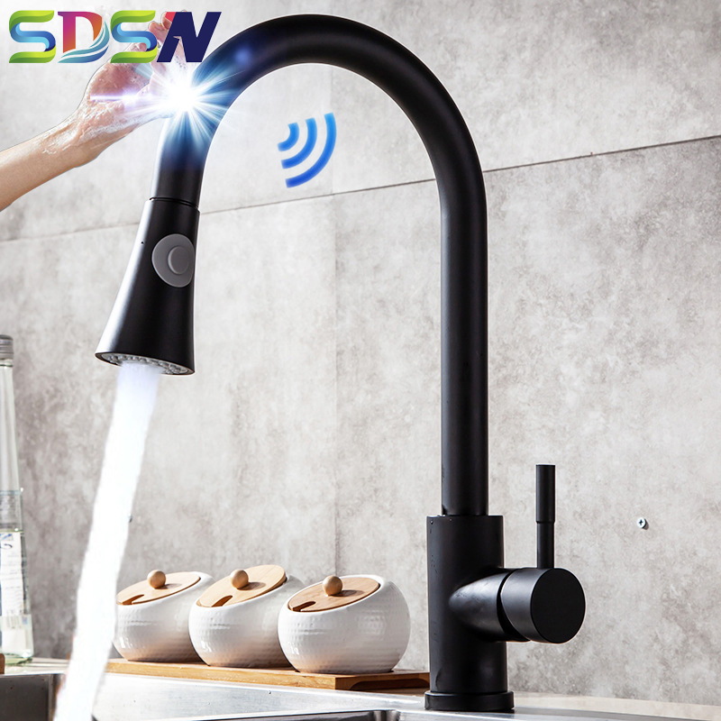 Black Touch Kitchen Faucet SDSN Single Leaver Pull Out Kitchen Mixer Tap Touch Control Kitchen Faucets Smart Sensor Kitchen Tap