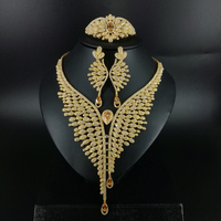 2019 new fashion vintage Peacock champagne CZ zircon golden necklace earring bracelet ring wedding bride dressing jewelry set