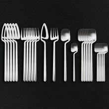 24Pcs Silver Cutlery Set Stainless Steel Dinnerware Set Colorful Knife Fork Spoon Tableware Kitchen Dinner Silverware Set