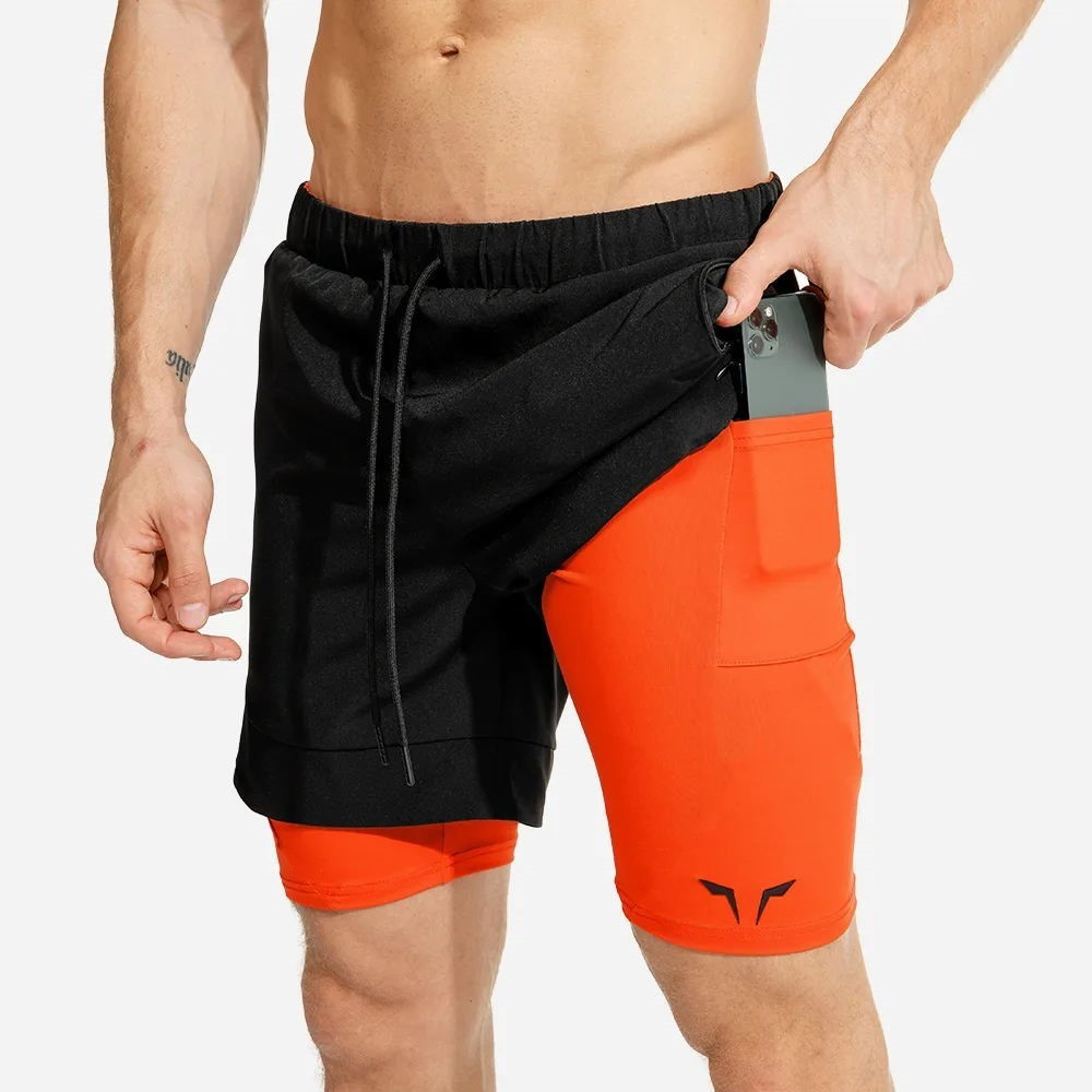 Men's 2 In 1 Running Shorts Security Pockets New Summer Sports Shorts Men's Half Pants Fake Two Piece Fitness Shorts