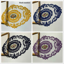 European style lace embroidered oval placemat coaster food dessert