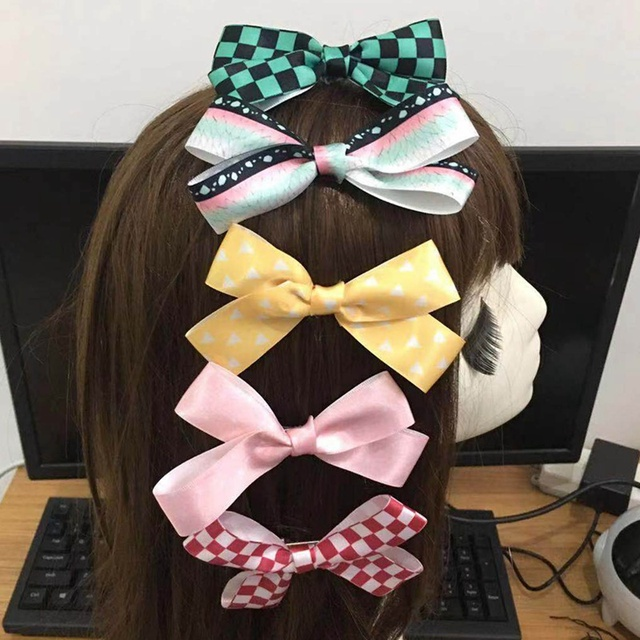 Anime Demon Slayer Kimetsu No Yaiba Scrunchie Elastic New Hairclip HeadBands Hair Rope Bowknot Headdress Cosplay Gifts