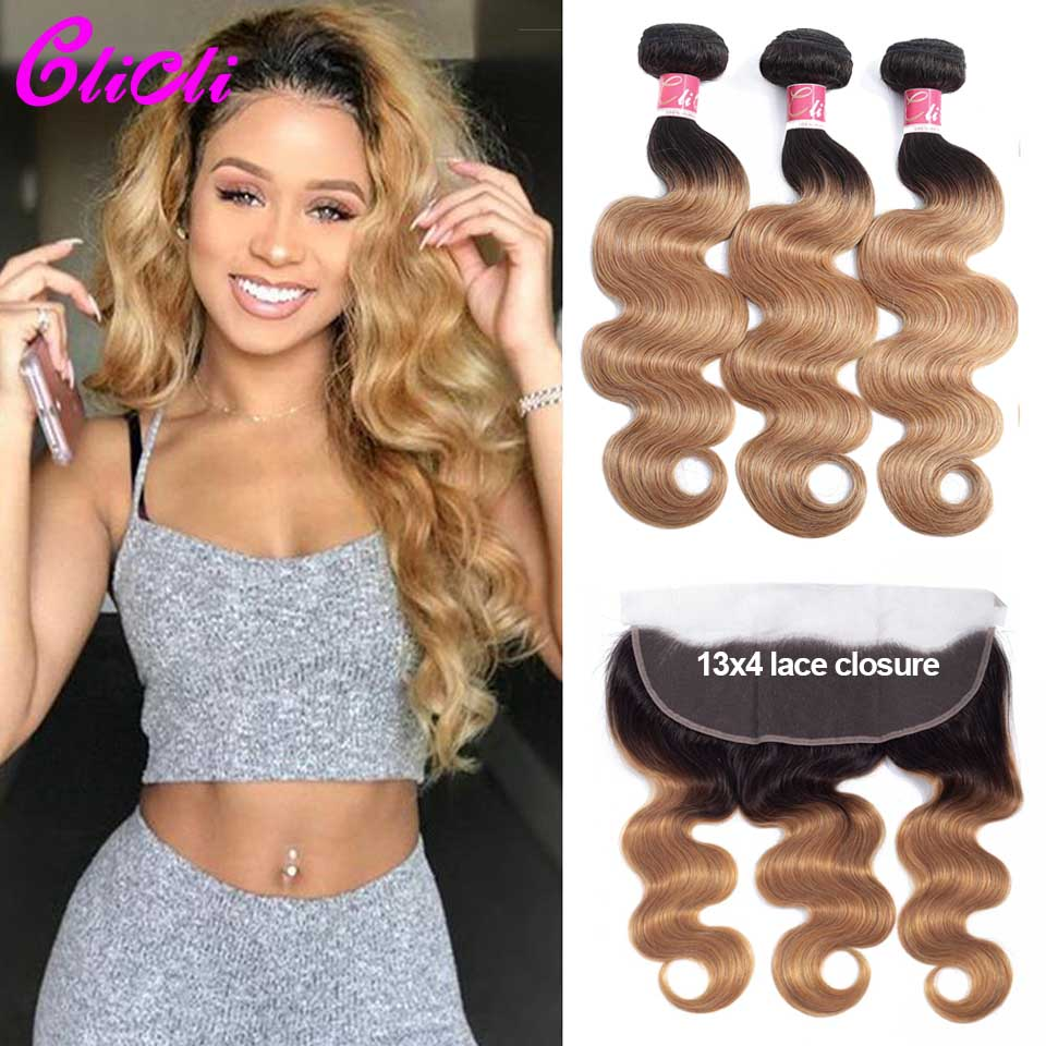 1B 27 Ombre Human Hair Bundles With Frontal Body Wave Malaysian Remy Hair Weave 3 Bundles With 13x4 Lace Frontal Bleach Knots