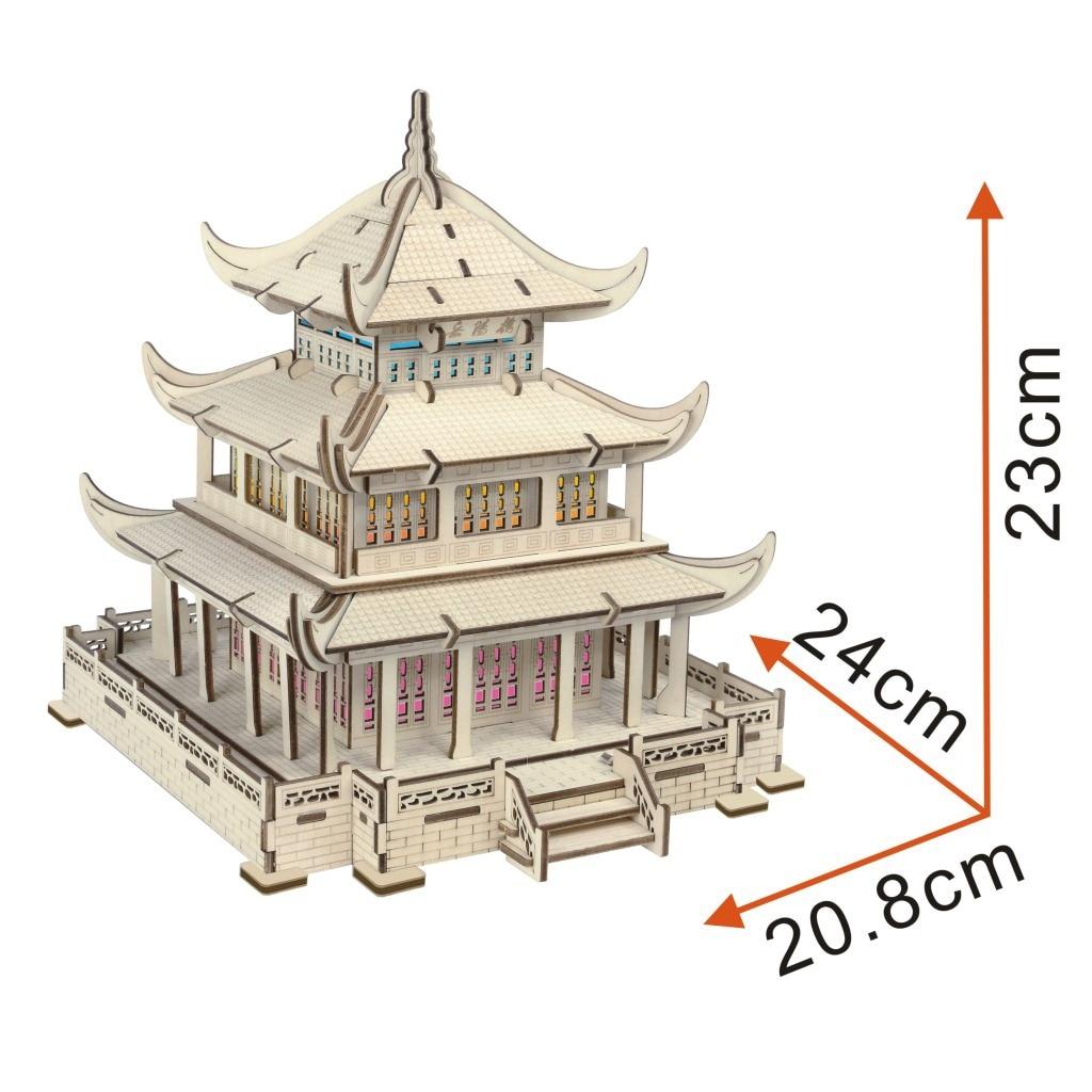 Yueyang Toren Kleurrijke Licht (een Groep) 3D Model 3D Puzzel Model Puzzel Lasersnijden Verwerking - 2