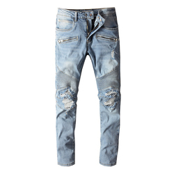 Men's classic blue pleated ripped biker jeans Fashion slim straight stretch denim pants Holes distressed trousers