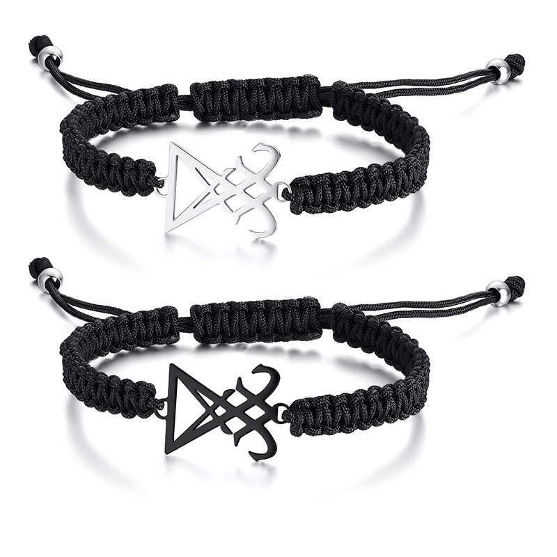 Vnox homens mulheres leviatã cruz charme preto trançado corda corrente pulseiras comprimento ajustável