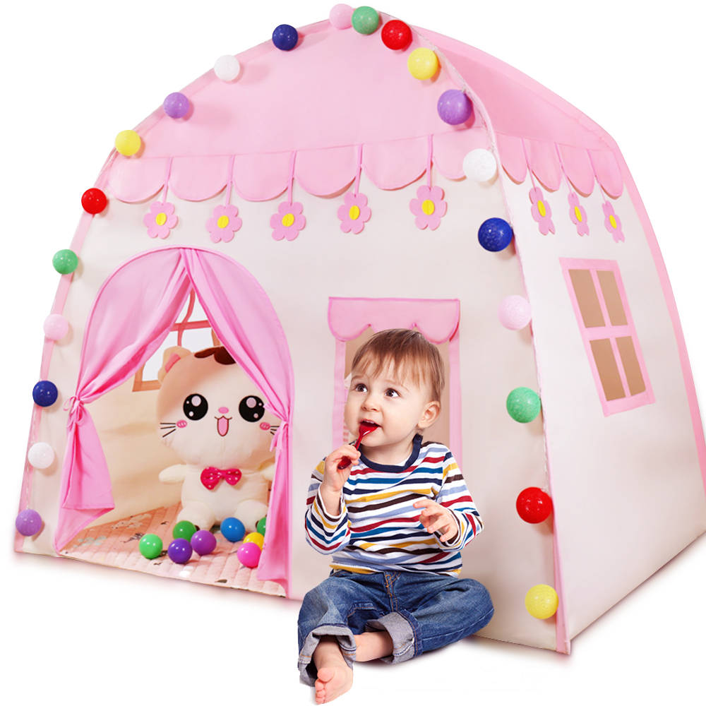 Kids Tent Pink Blue Kids Play House Children Tente Enfant Portable  Baby Play House Tipi Kids Flowers Little House