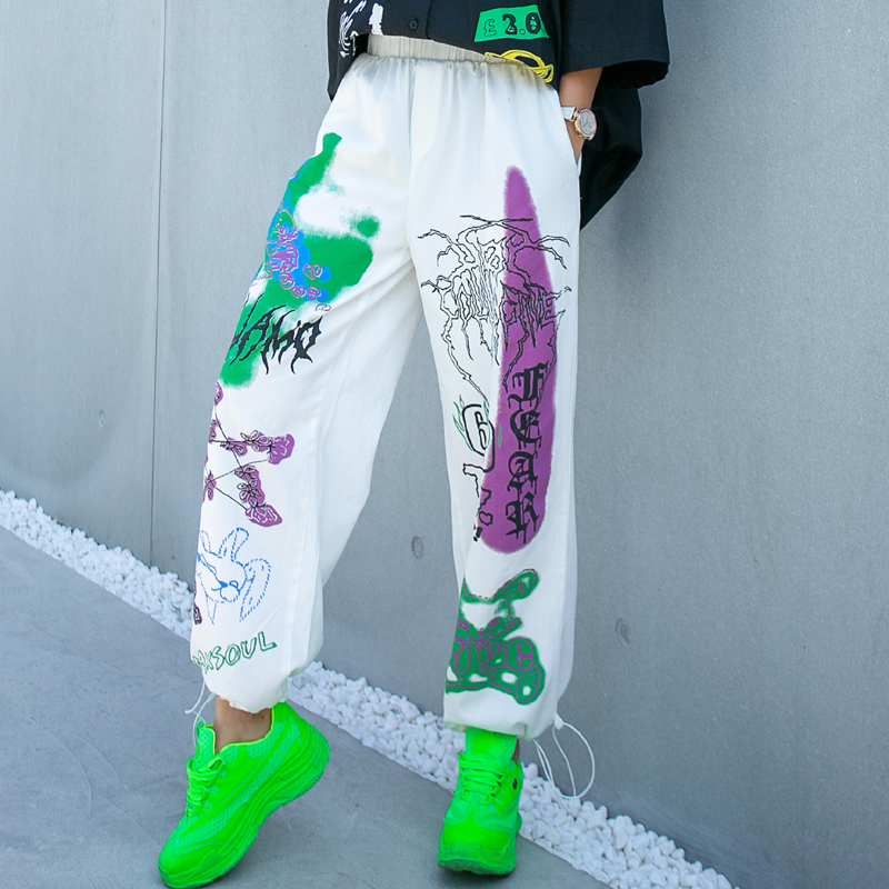 Street Tide Brand Cartoon Printed Bouquet Foot Pants National Tide Pocket Large Size Foreign Style Hip Hop Sports Pants