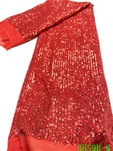 Czerwona popularna cekinowa koronka 2020 wysokiej jakości afrykańska koronka z cekinami francuska koronkowa tkanina dla kobiety wesele APW3559B