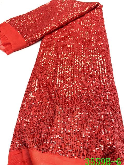 Kırmızı popüler payetler dantel kumaş 2020 yüksek kalite afrika dantel payetli kumaş fransız dantel kumaş kadın düğün için APW3559B