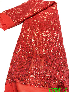 Image 1 - Rot Beliebte Pailletten Spitze Stoff 2020 Hohe Qualität Afrikanische Spitze Stoff mit Pailletten Französisch Spitze Stoff für Frau Hochzeit APW3559B