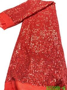 Image 1 - Tissu en dentelle à paillettes rouge populaire, tissu en dentelle africaine de haute qualité, avec paillettes, tissu en dentelle française pour femmes, mariage, APW3559B, 2020
