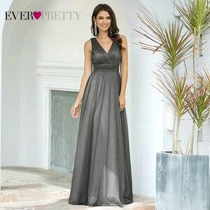 Image 3 - Ever Pretty vestidos de noite decote em V,, a linha, sem mangas, comprido até o chão, EZ07764NB, vestido de festa robe