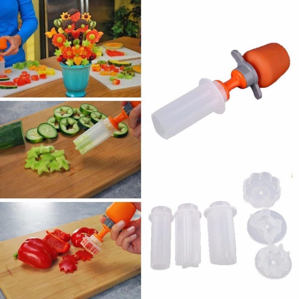 Cucina creativa Pop Tools plastica verdura forma di frutta taglierina affettatrice verdura cibo Chef Snack Maker Cake Decorator Festival Game