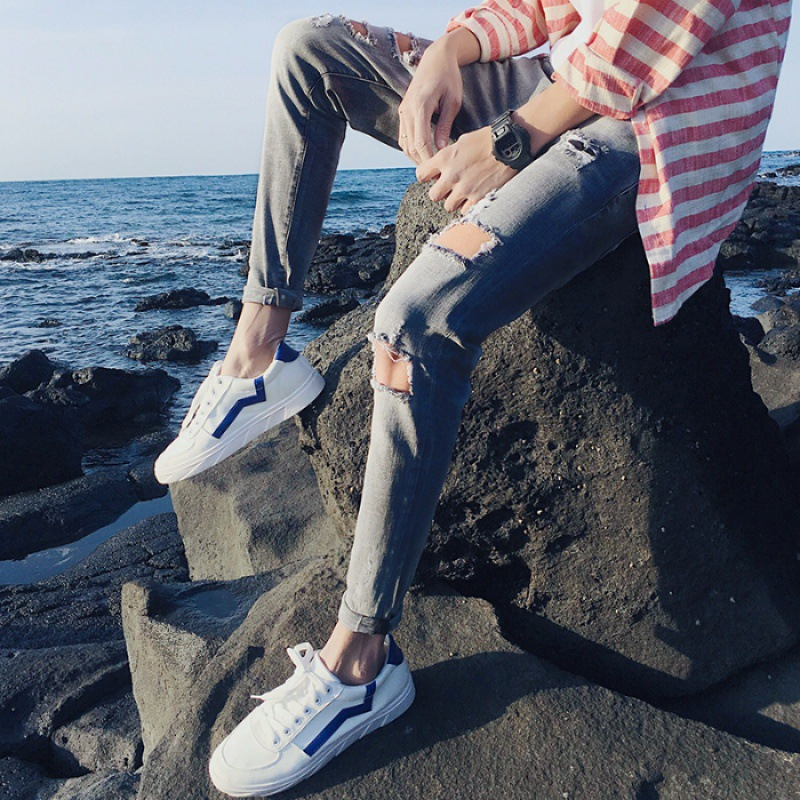 Elasticity Men Capri Jeans Summer Popular Brand Slim Fit Korean-style Trend Slim Fit Skinny Pants Versatile Convention Pants