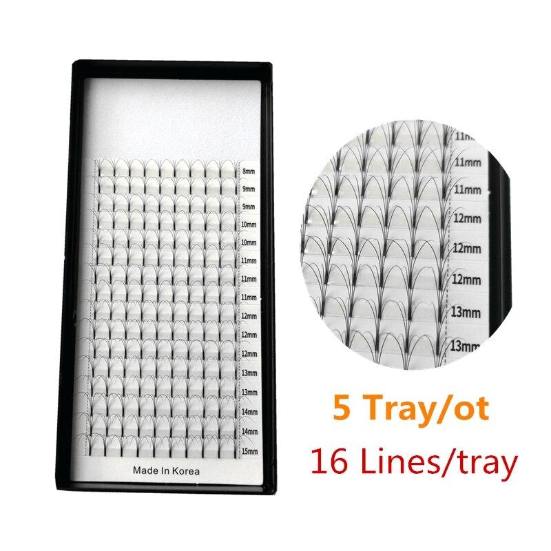 Russian Premade Fans Eyelashes 3D/4D/5D Long Stem 8-15mm Mixed Length Hot Sale Soft Eyelash Extensions 5 Trays