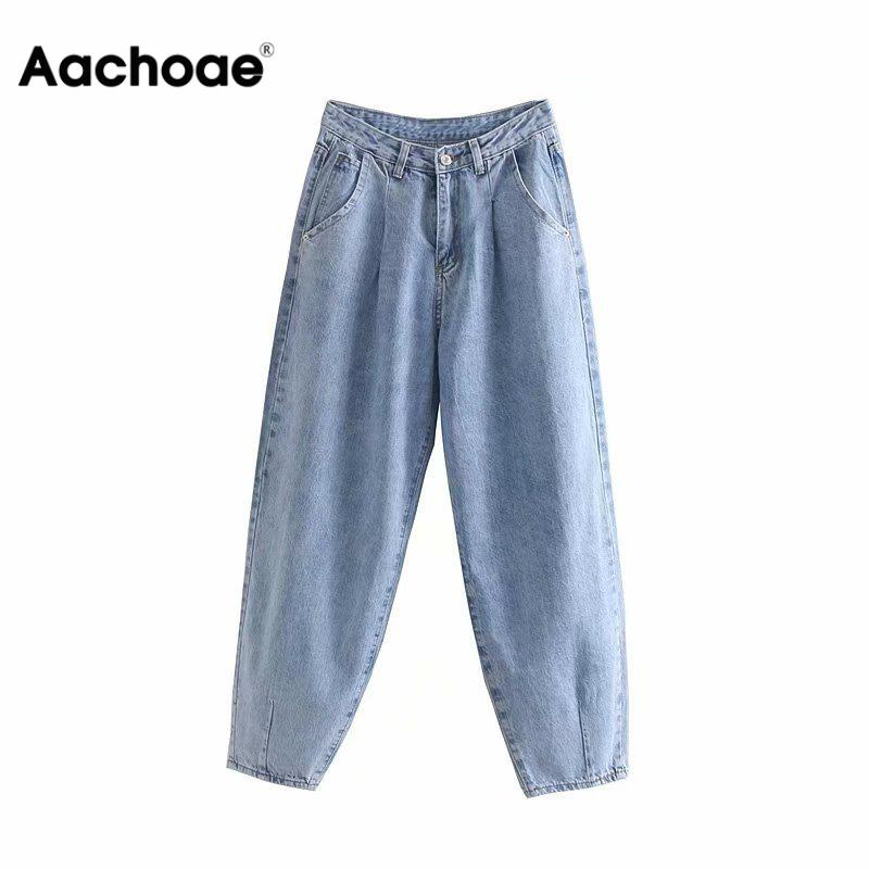 Aachoae Women Blue Harem Jeans Loose Mom Jeans High Waist Streetwear Boyfriends Washed Denim Long Trousers Bottoms Slouchy Jeans
