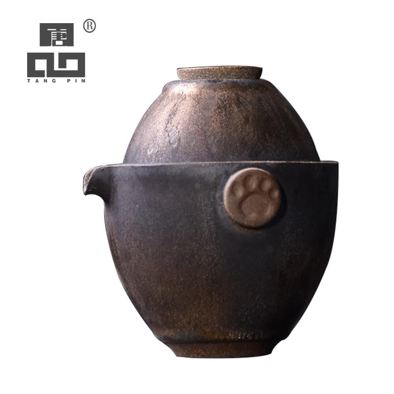 Ev ve Bahçe'ten Çay Takımı Setleri'de TANGPIN japonya seramik demlik çay bardağı bir çay takımları taşınabilir seyahat çay takımları drinkware title=
