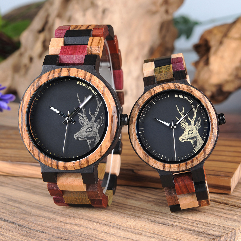 Reloj Mujer BOBO BIRD Wooden Couple Watch Men Women Valentine Birthday Anniversary Custom Wristwatch Special gift dropshipping