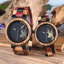 Reloj Mujer BOBO BIRD Wooden Couple Watch Men Women Valentin