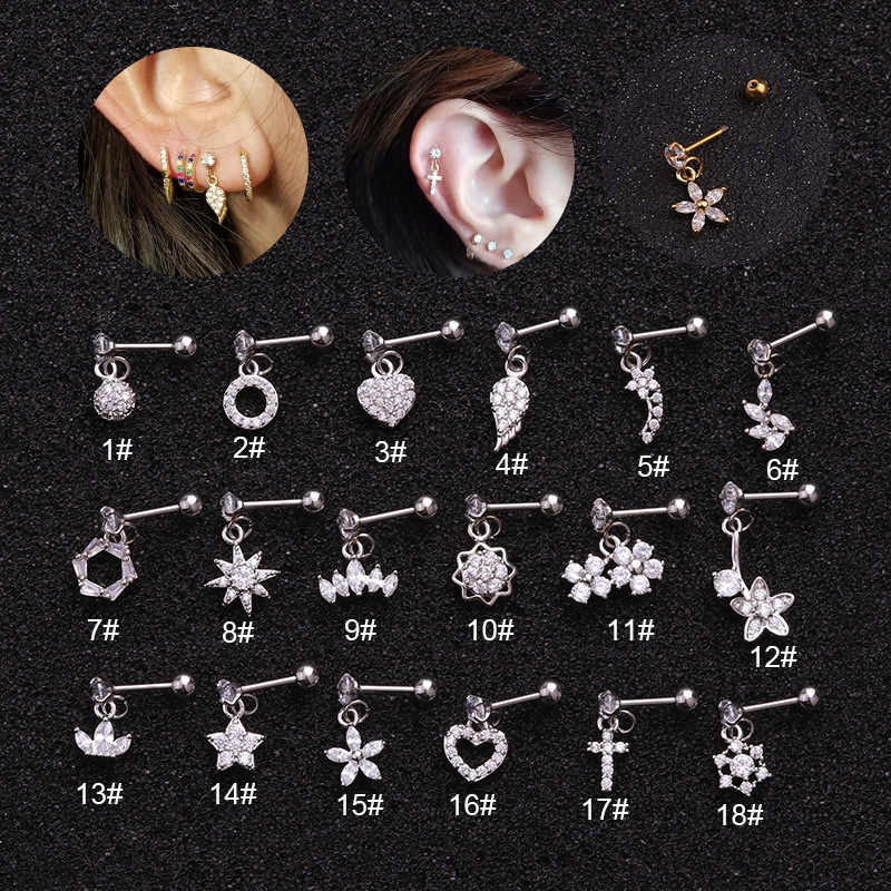 Kecil CZ Zircon Warna Perak Bulan Bintang Sayap Drop Anting-Anting Lucu Daun Cross Bunga Liontin Anting-Anting Stainless Steel Bar Telinga perhiasan