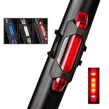 5 led usb recarregável bicicleta luz da cauda segurança ciclismo lâmpada traseira alarme
