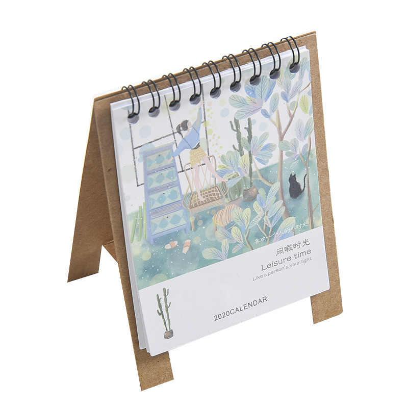 2020 ручной рисунок свежий мультфильм мини настольный бумажный календарь двойной ежедневный расписание Настольный планировщик годовой Органайзер