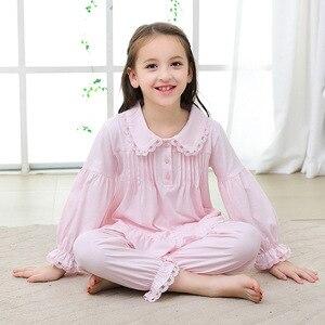 Image 3 - 2019 가을 어린이 잠옷 세트 소녀 잠옷 긴 소매 면화 홈 스타일 유아 의류 어린이 잠옷 고품질