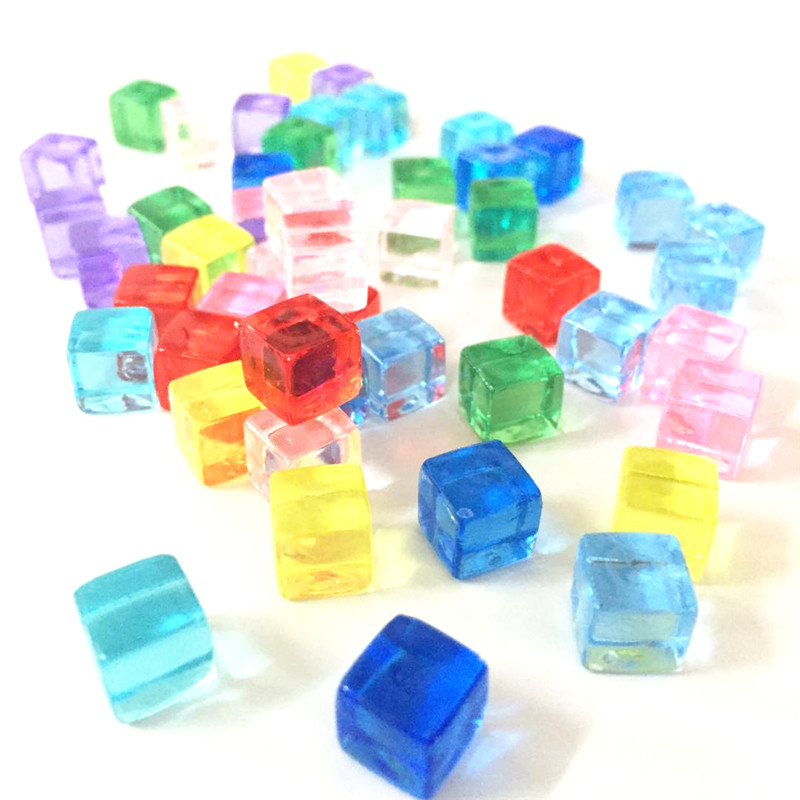 50Pcs/set 8mm 12 Colors Transparent Square Corner Colorful Crystal Dice Chess Piece Right Angle For Puzzle Game Pieces