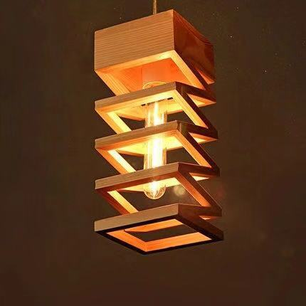 Modern Nordic Lamps Retro Pendant Lights Wood Lamp Restaurant Bar Coffee Dining Room LED Hanging Lamp Home Fixture Wooden