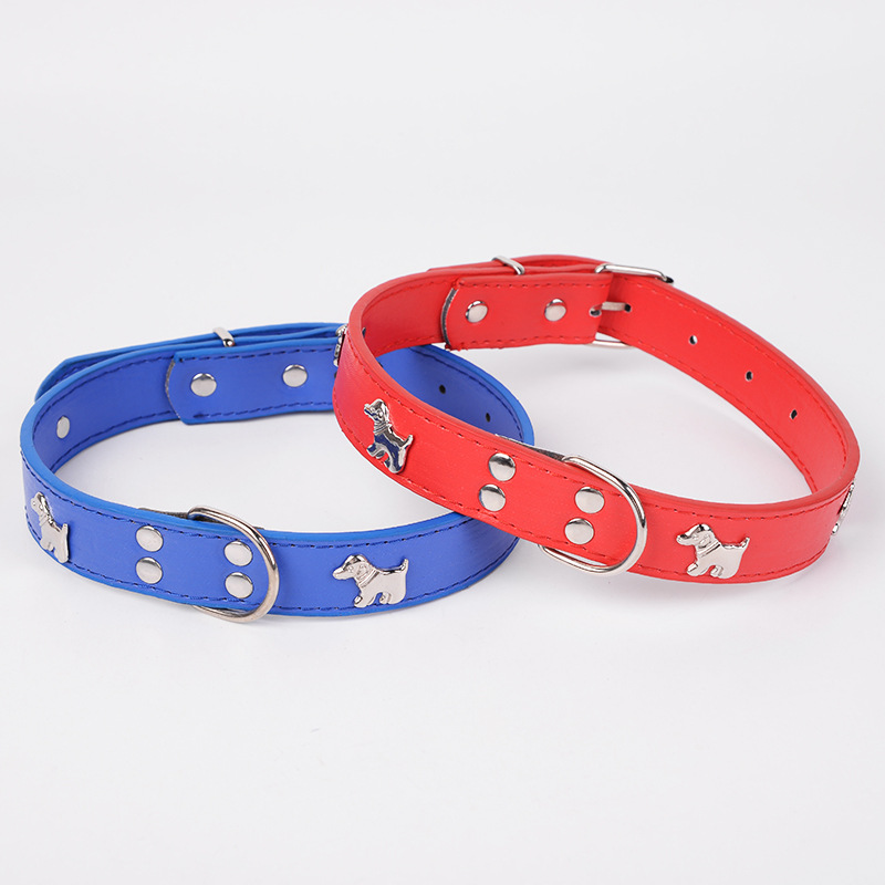Pet Supplies New Style Dog Neck Ring Outdoor Pet Decoration Pu Solid Color Neck Ring Collar Retractable Manufacturers Wholesale