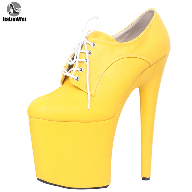 Womens Nightclubs Super High 20CM Spike Heels Platform Stiletto Shoes Lace Up Sexual Fetish Dance Party pumps more colors