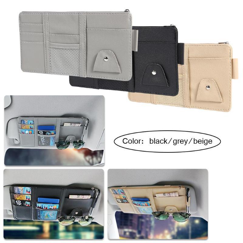Car Visor Organizer Storage Case Large Capacity Car Visor Tidy Pocket with Zipper Visor Holder Case for Pen Earphone Mobile Phone