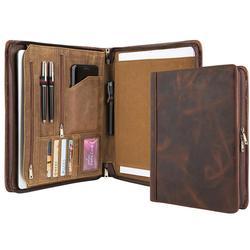Handgemaakte Luxe Lederen Portfolio A4 Map, Business Padfolio Portfolio Case Documenten Organisator, Gift voor Vrouwen & Mannen