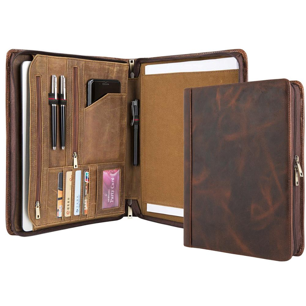 Vintage Crazy-Horse Portfolio Business Organizer Genuine Leather Padfolio Case with A4-Sized Notepad Zipper Closure Non-Custom, Brown