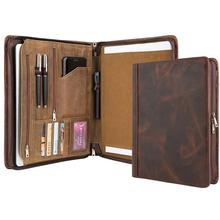 Handmade Luxury Genuine Leather Portfolio A4 Folder, Business Padfolio Case Documents Organizer, Gift for Women & Men