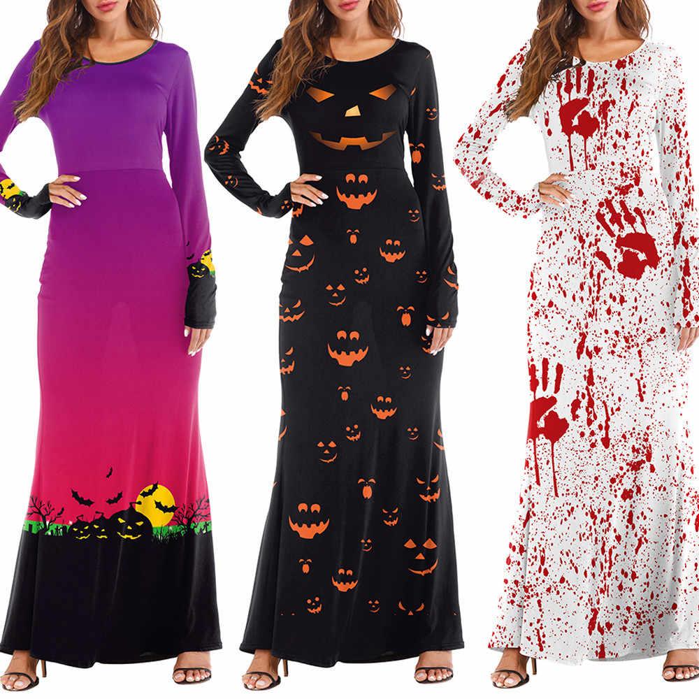 Đầm Nữ Tay Dài Bí Ngô Halloween 3D Đẫm Máu handprint In Áo Khoác Đảng Dài Đầm Maxi thời trang nữ F819