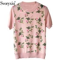 Svoryxiu 2020 Designer Summer Short Sleeve Knitting T Shirts Women's Silk Rose Flower Print Fashion Tops Tees Female