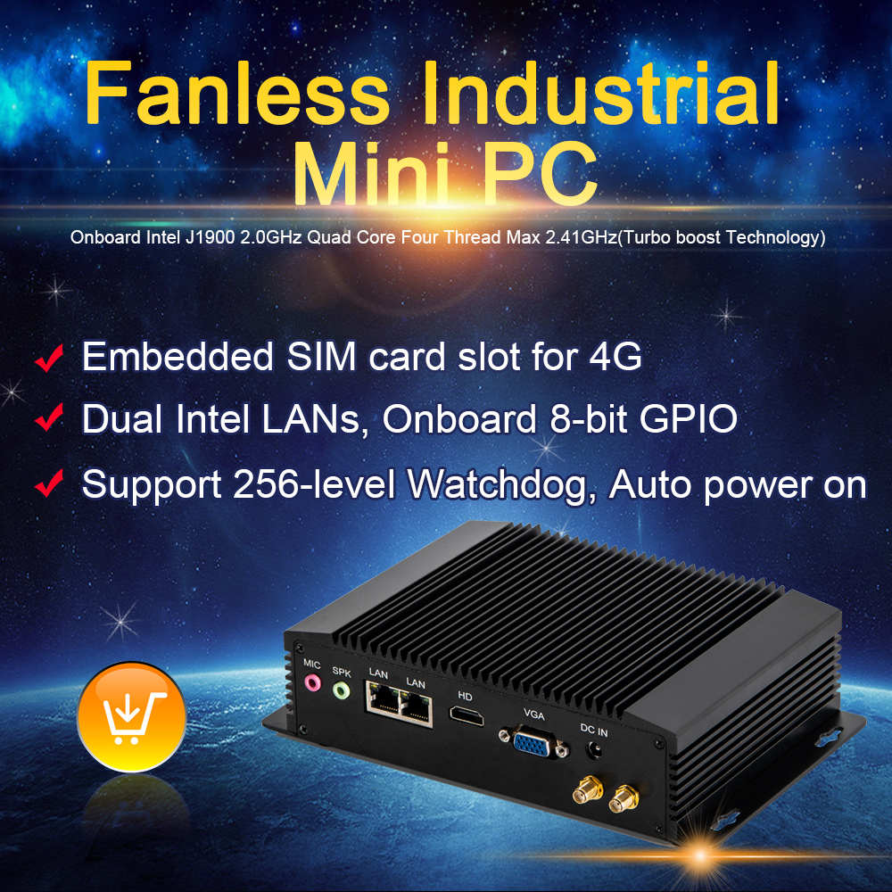 Newest 4G SIM Card Desktop Computer J1900 DDR3L HD VGA Mini Pc Industrial Dual LAN Pc Case Gaming