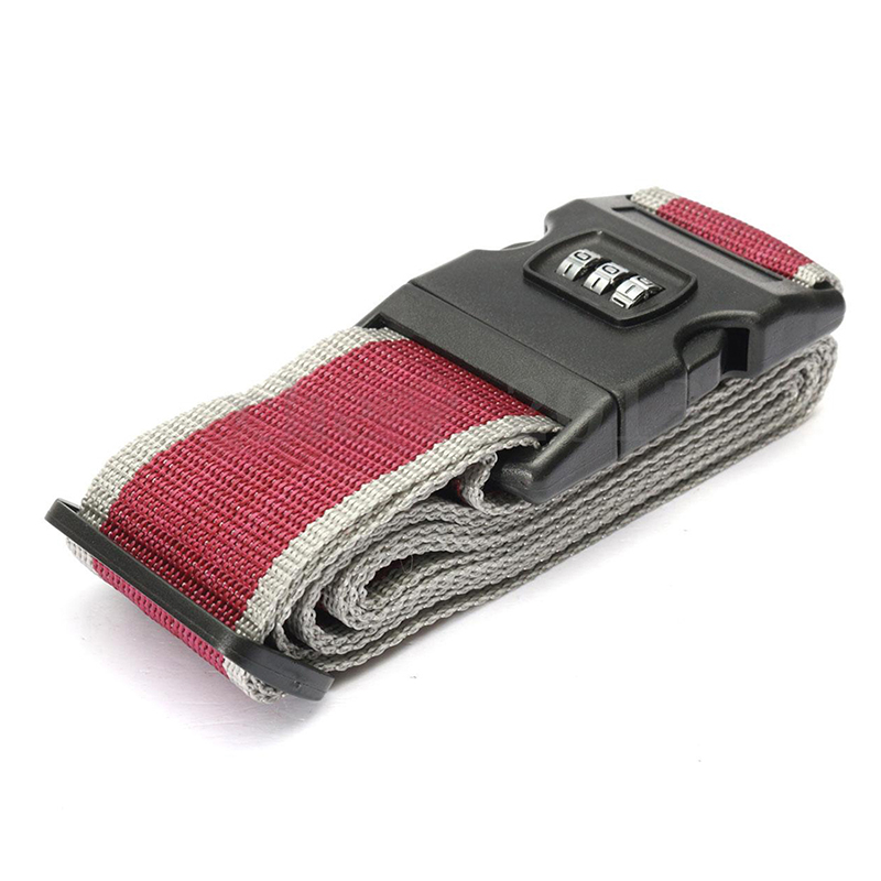 Safety Belt Belt Lock Combination Travel Luggage Suitcase Band Color:gray Red