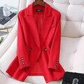 Frauen Elegante Lange Hülse Zweireiher Blazer Jacke Casual Feste Weibliche Chic Dame Büro Anzug Blazer Outwear Mantel Übergroßen
